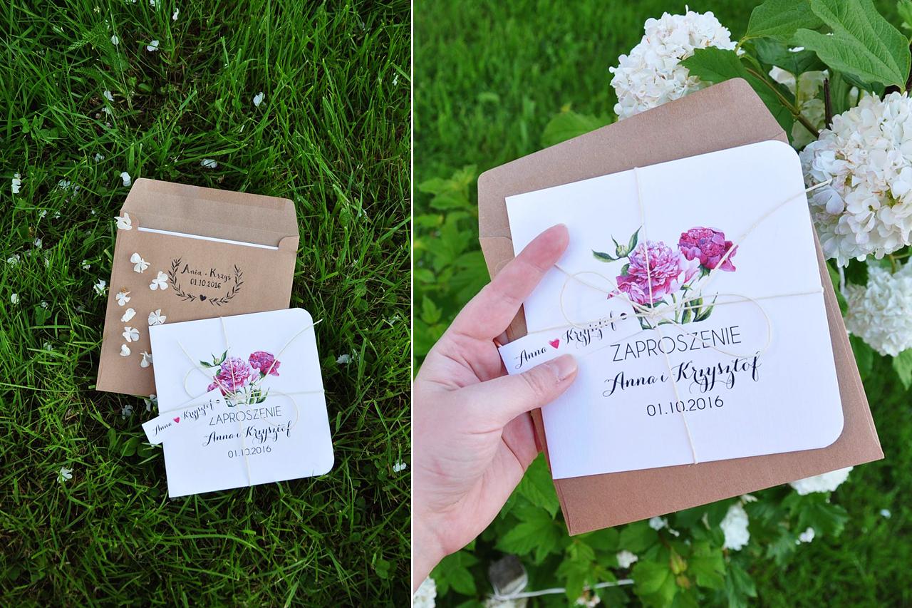 ślub romantyczny zaproszenia ślubne kwiaty